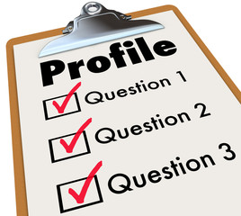 Profile Clipboard Checklist Questions Asking Personal Data Infor