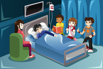 Kids visiting their friend in hospital