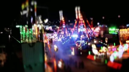 Tilt shift of the Christmas fair in Alicante city