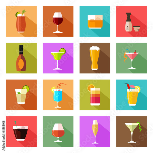 Alcohol drink glasses icons - 81585013