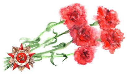 Red flowers carnations 9th may the great patriotic war isolated