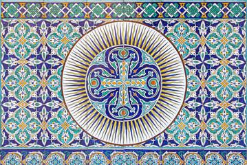 Jerusalem - tiled Armenian cross in St. James cathedral