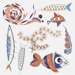set of fish, algae and snails
