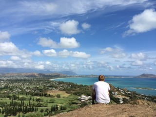 Hiker enjoys the view of Kailua and Lanikai