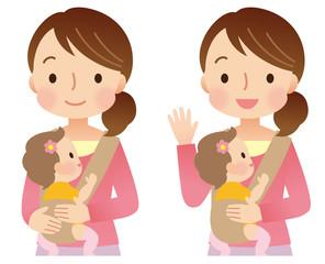 子育てする女性 ママ 表情セット