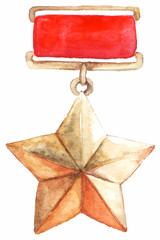 Medal star 9th may the great patriotic war isolated