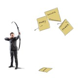 Businessman pointing and hits