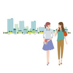 若い 女性 イラスト ショッピング