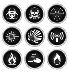 Black hazard related icon set