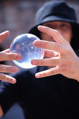 balancing glass ball