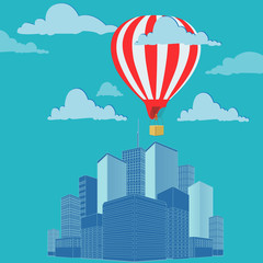 travel, air balloon, concept, flat, style, illustration, vector
