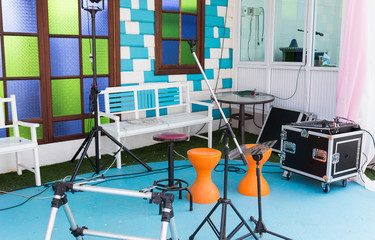 equipment of musical band for playing on the stage