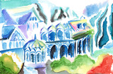 Abstract colorful art of elven kingdom town buildings poster