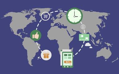 Global E-Commerce Concept Illustration