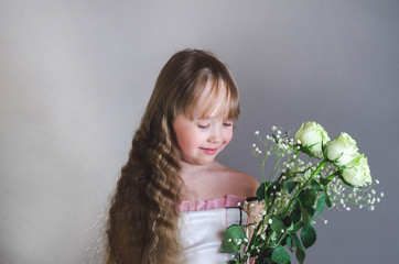 Girl holding a white rose