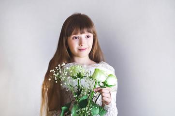 Girl holding a white rose