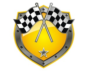 shield protector steel race flag emblem image vector