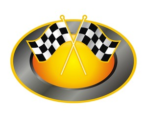 circle oval race flag emblem image vector