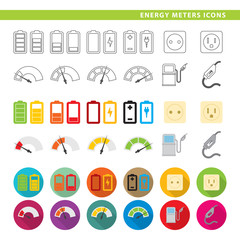 Energy meters icons.