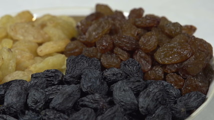 Three Kinds of Raisins in a Bowl