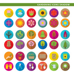 Gardening icons shadow.