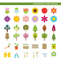 Gardening icons color.