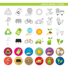 Green energy icons.