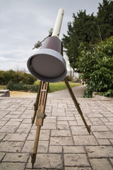 Telescope in cloudy day.Concept:Astronomy,day,eclipse,monitoring