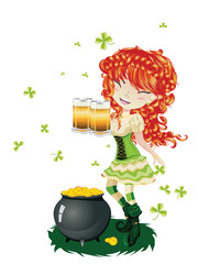 Leprechaun Girl with Beer