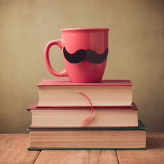 Happy Father's day greeting design with cup and mustache