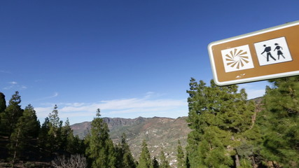 Gran Canaria landmark Roque Nublo sign