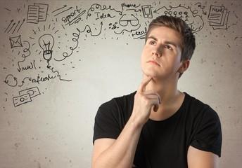 Thinking. The thinker