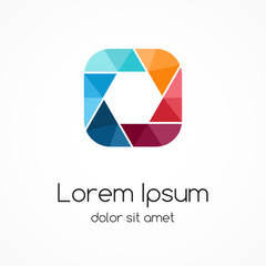 Logo template. Modern vector abstract square and hexagon