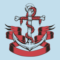 Illustration of anchor with ribbon and rope.