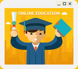 Online education. Graduate in gown and hat into app window