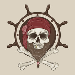 Illustration of Pirate Skull with a beard.