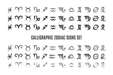 Calligraphic zodiac sign set