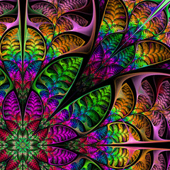 Diagonal symmetrical multicolored pattern of the leaves. Collect