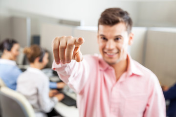 Male Customer Service Executive Pointing At You