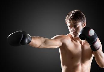 Boxing. Young Man Shadow Boxing