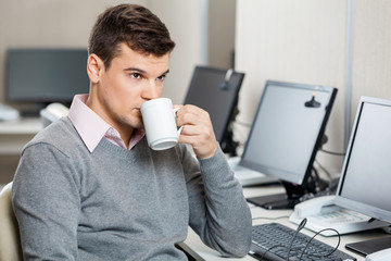 Customer Service Representative Having Coffee