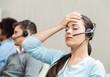Leinwanddruck Bild - Tired Female Customer Service Agent In Call Center