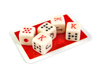 Set of five poker dices on a white background