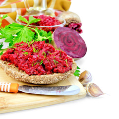 Sandwich with beet caviar and spices