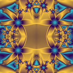 Flower pattern in fractal design. Blue and gold palette. Compute