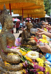 songkran festival tradition in the thai temple