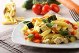 Pasta with swordfish, zucchini and cherry tomatoes