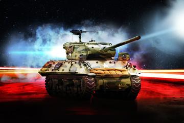 American tank on road in bright glow