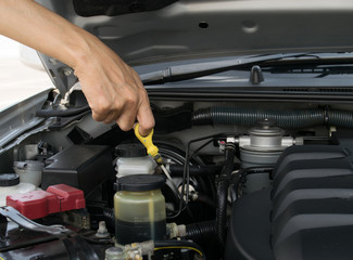 check the oil level in engine