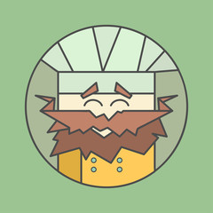 Flat vector icon of cute smiling chef from triangles with